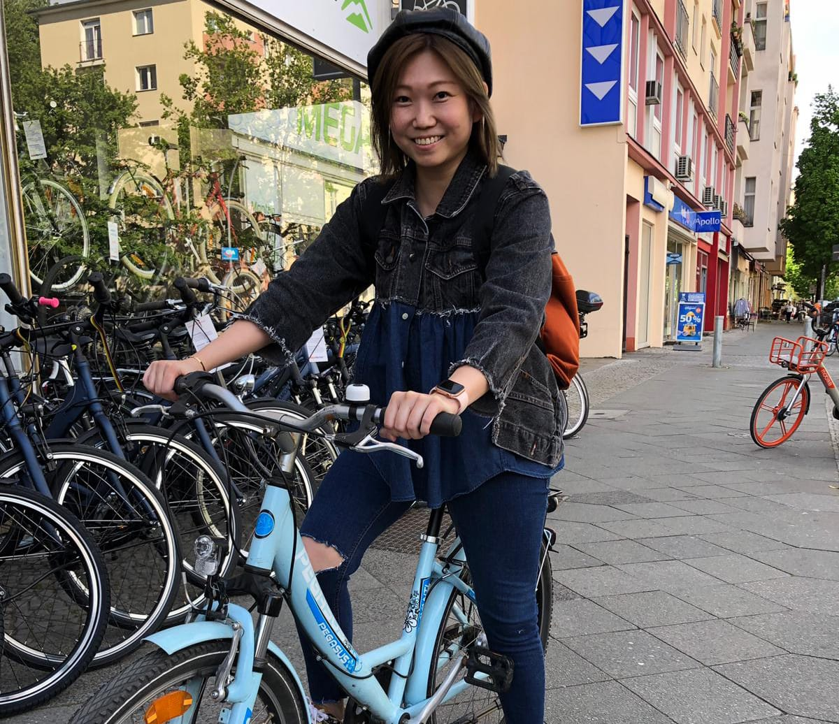 Berlin Film Residencies – Gilitte Leung, 2018 BERLIN AiR fellow, 1st day in Berlin with her bike Bilitte
