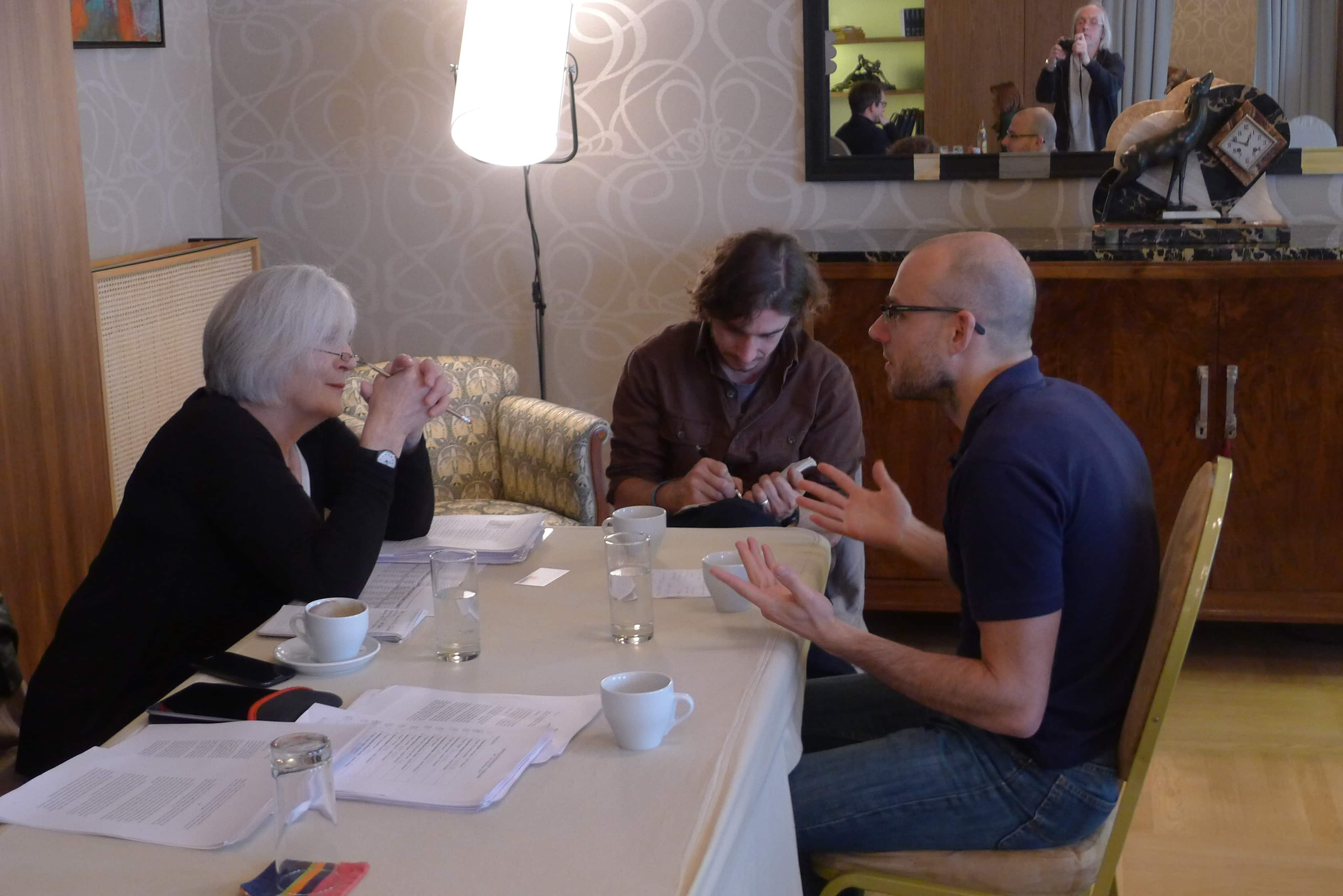 "Berlin Film Residencies – Workshop ""Project Packaging for the European Market"" in cooperation with 20th Festival Autorskog Filma, one-to-one meeting, Leslie Hills, Balazs Simonyi and his producer László Józsa, 2014 Belgrade"