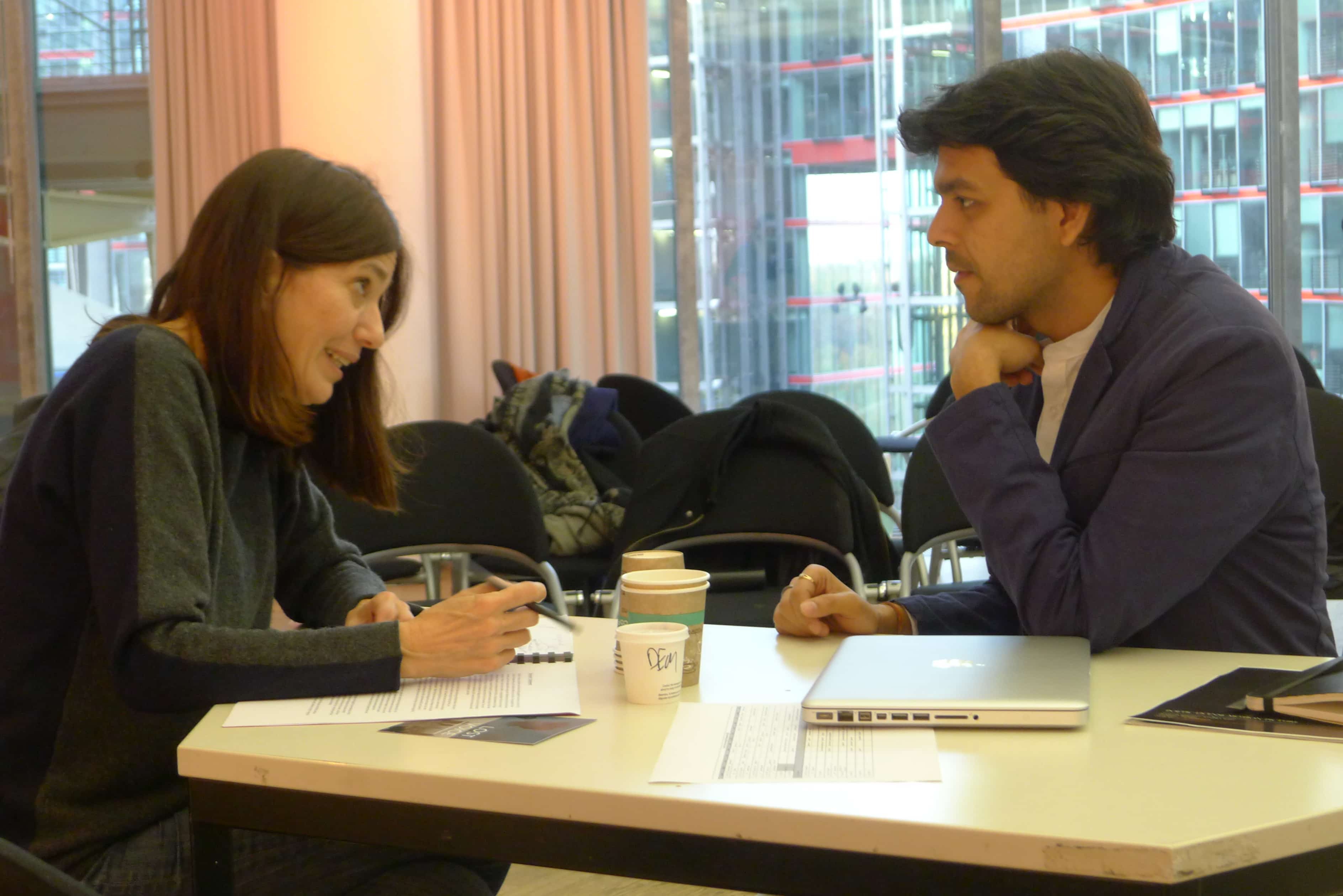 "Berlin Film Residencies – Workshop ""Project Packaging for the International Market"" 2016, one-to-one meeting, Christine Camdessus and BERLIN AiR fellow Raj More"