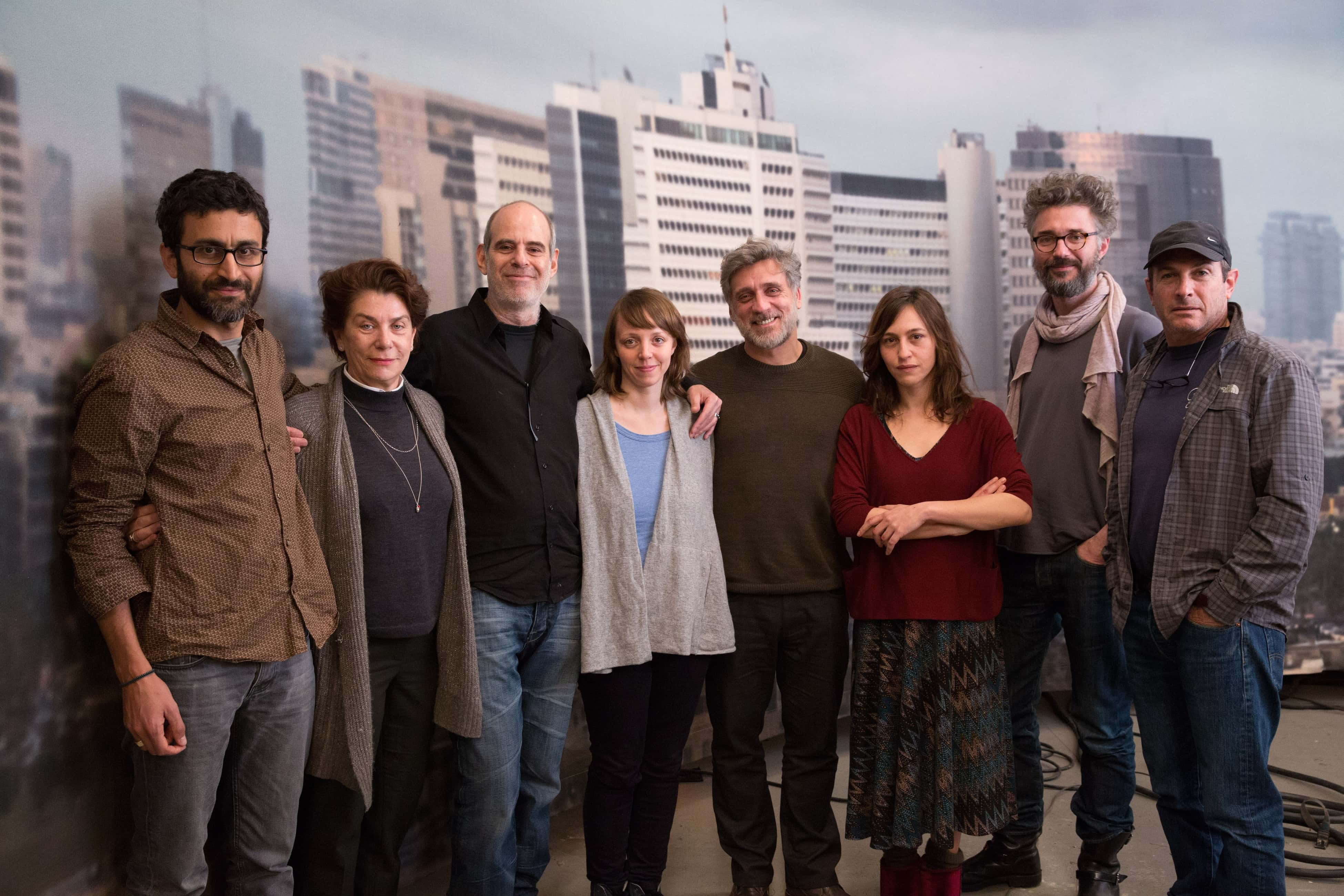 Berlin Film Residencies – On the set of FOXTROT with Producer Eitan Mansuri, Medienboard Berlin-Brandenburg Managing Director Kirsten Niehuus, Director Samuel Maoz, Producer Viola Fügen next to the Main Actors Lior Ashkenazi and Sarah Adler, Producer Michael Weber and DOP Giora Bejach